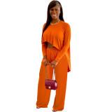 Solid Orange Boat-Neck Top & Pants Set