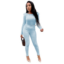 Solid Color Light Blue Scoop Neck Pitted Wool Two Piece Fall Winter Outfits