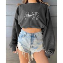 Solid Color Dark Grey Fall Positioning Embroidery Sweatshirt