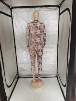Fall Long Sleeve Zipper Printed One Piece Jumpsuit