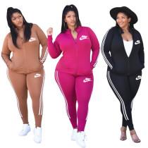 Casual Black Printed Brand Logo High Neck Two Piece Sportswear