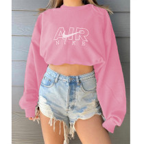 Solid Color Pink Fall Positioning Embroidery Sweatshirt