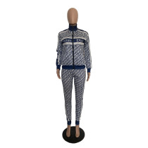 Casual High Neck Zipper Printed Dyeing Pattern Two Piece Sports Set