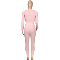Solid Color Pink Scoop Neck Pitted Wool Two Piece Fall Winter Outfits
