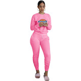 Autumn Pink Printed Sweatsuits Women Two Piece Set Long Sleeve Top and Stacked Sweat Pants Set