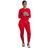 Autumn Red Printed Sweatsuits Women Two Piece Set Long Sleeve Top and Stacked Sweat Pants Set