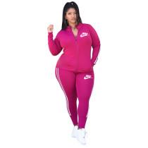 Casual Printed Brand Logo High Neck Two Piece Sportswear