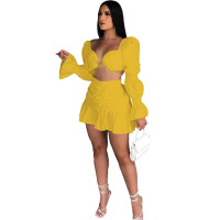 Yellow Long Sleeve Club Crop Top Pleated Mini Skirts Sexy Women Two Piece Skirt Set Matching Sets