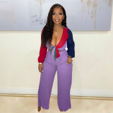 Purple Two Piece Color-blocking Lace-up Crop Top and Wide-leg pants with Pockets