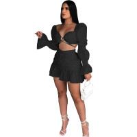 Black Long Sleeve Club Crop Top Pleated Mini Skirts Sexy Women Two Piece Skirt Set Matching Sets