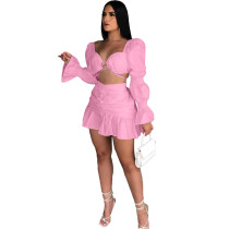 Pink Long Sleeve Club Crop Top Pleated Mini Skirts Sexy Women Two Piece Skirt Set Matching Sets