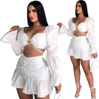 White Long Sleeve Club Crop Top Pleated Mini Skirts Sexy Women Two Piece Skirt Set Matching Sets