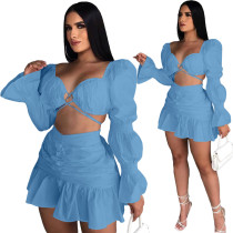 Sky Blue Long Sleeve Club Crop Top Pleated Mini Skirts Sexy Women Two Piece Skirt Set Matching Sets
