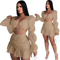 Khaki Long Sleeve Club Crop Top Pleated Mini Skirts Sexy Women Two Piece Skirt Set Matching Sets