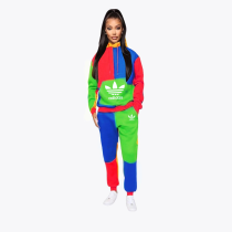 Fashion Splicing Sweatpants Hooded Printed Letter Two Piece