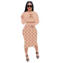 Casual Women Printed Letter Crop Top Fall Skirt Set