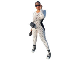 Casual White Stitching Printed Jumpsuit with Invisible Zipper