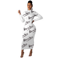 Fashion White Printed Letter O Neck Long Dress For Fall Women