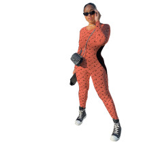Casual Stitching Printed Jumpsuit with Invisible Zipper