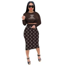 Casual Women Coffee Printed Letter Crop Top Fall Skirt Set