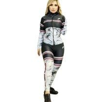 Brand Clothing High Neck Printed Letter Joggers Pants Two Piece Pants Set For Women