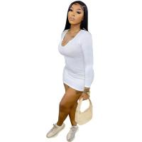 Casual White Pit Low-cut V Neck Sexy Mini Dress