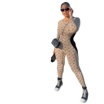 Casual Khaki Stitching Printed Jumpsuit with Invisible Zipper