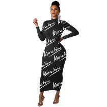 Fashion Black Printed Letter O Neck Long Dress For Fall Women