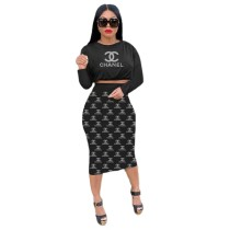 Casual Women Black Printed Letter Crop Top Fall Skirt Set