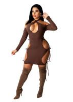 Autumn Dark Brown Hollow Halter Backless Sexy Dress