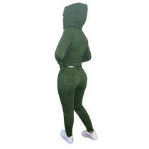 Winter Green Fleece Two Piece Sweatpants and Hoodie Set for Women
