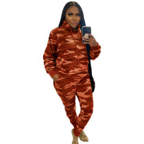 Casual Camouflage Drawstring Sweatsuits Hoodie Pants Sets For Women