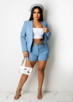 Solid Color Light Blue Office OL Suit Set