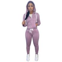 Winter Light Purple Fleece Two Piece Sweatpants and Hoodie Set for Women
