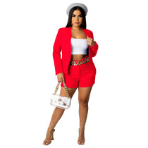 Solid Color Red Office OL Suit Set