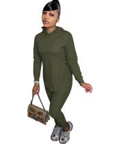 Casual Solid Dark Green Long Sleeve Sweatpants Hoodie Women Set
