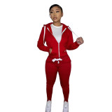 Winter Red Fleece Two Piece Sweatpants and Hoodie Set for Women