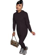 Casual Solid Black Long Sleeve Sweatpants Hoodie Women Set