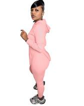 Casual Solid Pink Long Sleeve Sweatpants Hoodie Women Set