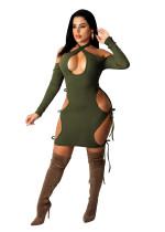 Autumn Dark Green Hollow Halter Backless Sexy Dress