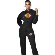 Women Two Piece Solid Color Black Printed Sweatpant Hoodie Set
