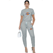 Casual Solid Grey Pullover Round Neck Printed Lounge Wear Short Sleeve Blouse Stacked Trousers