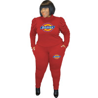 Casual Red Plus Size Puff Sleeve Rope Printed Stitching Two Piece Outfits