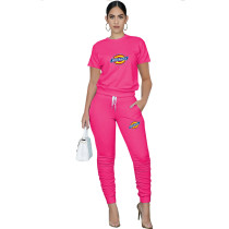 Casual Solid Rose Pullover Round Neck Printed Lounge Wear Short Sleeve Blouse Stacked Trousers