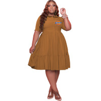 Coffee Plus Size Turn-down Neck Printed Stitching Pleated Midi Dress with Button