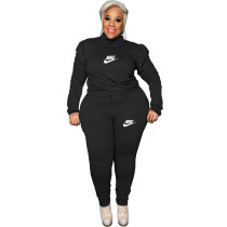 Casual Black Puff Sleeve Rope Printed Stitching Two Piece Plus Size Set