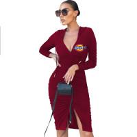 Solid Wine Red Deep V Slit Tie Rope Stacked Hoodies Midi Dress