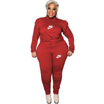 Casual Red Puff Sleeve Rope Printed Stitching Two Piece Plus Size Set