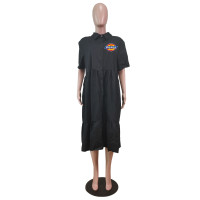 Black Plus Size Turn-down Neck Printed Stitching Pleated Midi Dress with Button