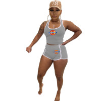 Solid Color Grey Stitching Sports Sleeveless Tank Top Shorts Set
